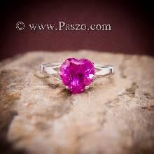 แหวนพลอยรูปหัวใจ พลอยสีชมพู แหวนพลอยเงินแท้