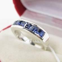 แหวนพลอยไพลิน แหวนสีน้ำเงิน พลอยเม็ดสี่เหลี่ยม 6เม็ด แหวนแถว แหวนเงินแท้ 925 ฝังล๊อก