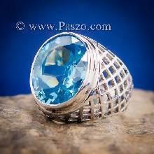 แหวนฉลุลาย แหวนพลอยสีฟ้า แหวนผู้ชายเงินแท้ แหวนฉลุลายตาข่าย แหวนผู้ชาย