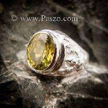 แหวนครุฑ แหวนพญาครุฑ พลอยสีเขียวมะกอก แหวนเงินแท้
