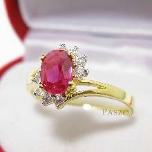 แหวนทับทิม แหวนทองแท้ ฝังทับทิม ล้อมเพชร ขาไข้ว