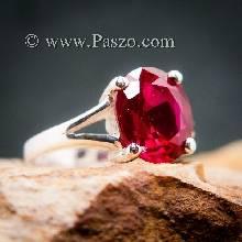 แหวนทับทิม แหวนพลอยสีแดงทับทิมเม็ดเดี่ยว แหวนทับทิมเงินแท้
