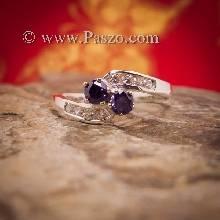 แหวนพลอยสีม่วง2เม็ด  แหวนอะเมทิสต์ แหวนพลอยคู่ พลอย2เม็ด แหวนเงินแท้