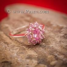 แหวนพลอยชมพู แหวนล้อมพลอยสีชมพู วงเล็กๆ ตัวเรือนเงินแท้