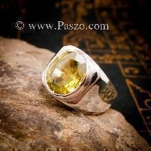 แหวนเขียวส่อง แหวนผู้ชายเงินแท้ แหวนผู้ชายพลอยสี่เหลี่ยม แหวนผู้ชาย พลอยสีเขียวมะกอก