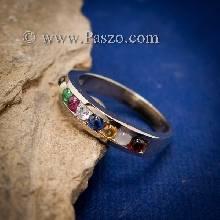 แหวนนพเก้า แหวนแถว พลอยนพเก้าแท้ แหวนเงินแท้