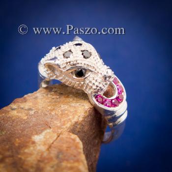 แหวนเสือดาว แหวนเสือดาวฝังนิล คาบห่วง #2