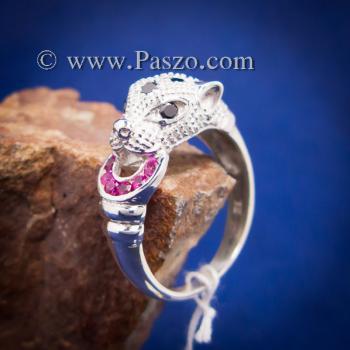 แหวนเสือดาว แหวนเสือดาวฝังนิล คาบห่วง #5