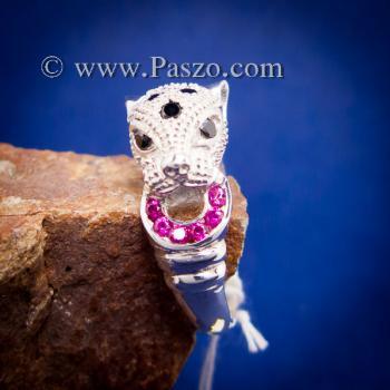 แหวนเสือดาว แหวนเสือดาวฝังนิล คาบห่วง #6
