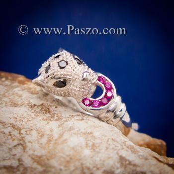 แหวนเสือดาว แหวนเสือดาวฝังนิล คาบห่วง #7