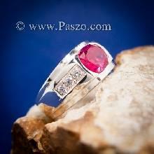 แหวนทับทิมผู้ชาย แหวนพลอยทับทิม แหวนพลอยสีแดง แหวนเงินแท้ แหวนผู้ชาย