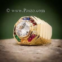 แหวนนพเก้าผู้ชาย แหวนพลอยนพเก้าสำหรับสุภาพบุรุษ ทองแท้ พลอยนพเก้าแท้ เพชรสวิส แหวนแปดเหลี่ยม