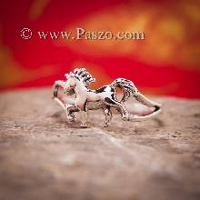 แหวนม้า ม้ายูนิคอน ม้ามีเขา แหวนเงินแท้ สำหรับผู้หญิง