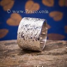 แหวนแกะลายรอบวง หน้ากว้าง15มิล แหวนเกลี้ยงหน้าเรียบ แกะลายไทย แหวนเงินแท้