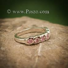แหวนพลอยชมพู แหวนเงินแท้ ฝังพลอยสีชมพู 7เม็ด