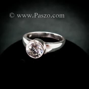 แหวนเพชร แหวนเงินแท้ แหวนเพชรเม็ดเดี่ยว #2