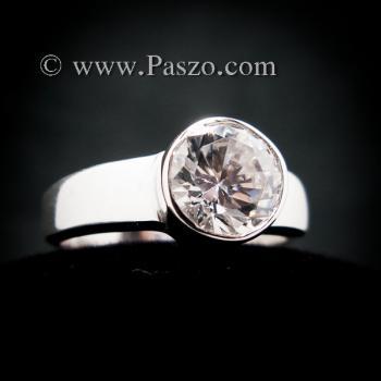 แหวนเพชร แหวนเงินแท้ แหวนเพชรเม็ดเดี่ยว #4