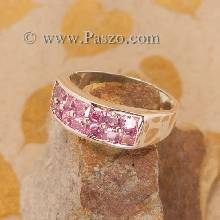 แหวนพลอยชมพู แหวนเงิน แหวนแถว2ชั้น แหวนเงินแท้