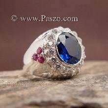 แหวนผู้ชายสีน้ำเงิน แหวนผู้ชายเงิน พลอยสีน้ำเงิน ฝังพลอยสีแดง แหวนผู้ชาย