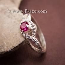 แหวนดวงตา แหวนพลอยสีแดง แหวนเงินแท้ ฝังพลอยทับทิม ล้อมเพชร
