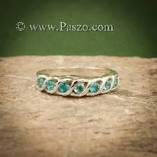 แหวนพลอยสีฟ้า แหวนเงินแท้ แหวนพลอยแถว