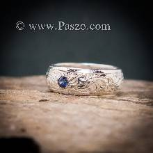 แหวนลายไทย แหวนเงินแท้ พลอยไพลิน พลอยสีน้ำเงิน แกะสลักลายไทยรอบวง
