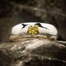 แหวนสีเหลือง แหวนเงินแท้ แหวนเกลี้ยงฝังพลอย บุษราคัม