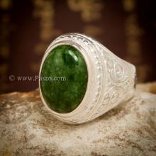 แหวนหยกผู้ชาย แหวนมอญ แกะสลักลายไทย ปิดใต้พลอย แหวนเงินแท้ แหวนผู้ชาย