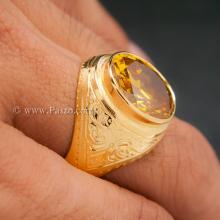 แหวนบุษราคัม แหวนผู้ชายทองแท้ แหวนทรงมอญ แหวนพลอยสีเหลือง