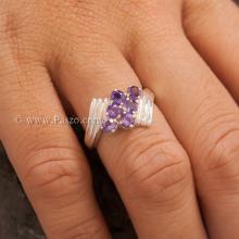 แหวนพลอยสีม่วง อะเมทีส เงินแท้ แหวนพลอยเงินแท้ ฝังพลอย6เม็ด