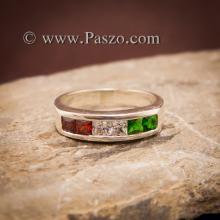 แหวนแถว แหวนเงิน ฝังโกเมน เขียวมรกต เพชร แหวนเงินแท้ 925
