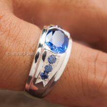 แหวนไพลินผู้ชาย แหวนผู้ชาย แหวนเงินแท้ ฝังพลอยไพลิน พลอยสีน้ำเงิน