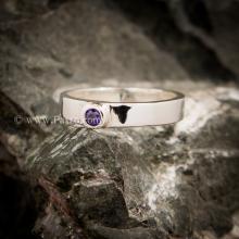 แหวนพลอยสีม่วง อะเมทีส แหวนเงินแท้ พลอยเม็ดเดี่ยว แหวนรุ่นเล็ก