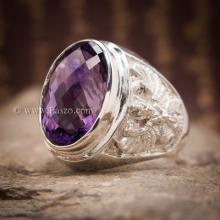 แหวนพลอยสีม่วง อะเมทีส แหวนครุฑ แหวนเงินแท้ แหวนพลอยผู้ชาย แกะสลักลายพญาครุฑ แหวนผู้ชาย