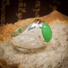 แหวนหยก แหวนพญาครุฑ แหวนผู้ชายเงินแท้ ฝังหยกแท้ หยกสีเขียวอ่อน พญาครุฑ แหวนผู้ชาย แหวนหยกผู้ชาย