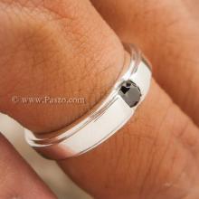 แหวนนิล แหวนเงินแท้ ฝังนิล เม็ดเดี่ยว แหวนบ่าลดระดับ