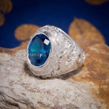 แหวนมังกร ฝังพลอยสีฟ้า ล้อมเพชร แหวนผู้ชายเงินแท้ 925 แหวนผู้ชาย
