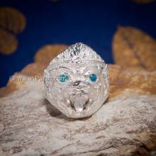 แหวนหนุมาน พลอยสีฟ้า บูลโทพาซ แหวนเงินแท้ 925 แหวนผู้ชาย