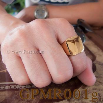 แหวนสี่เหลี่ยมหน้าเรียบ แหวนทองชุบ แหวนผู้ชาย #3