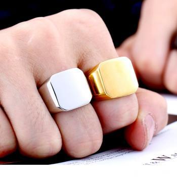แหวนสี่เหลี่ยมหน้าเรียบ แหวนทองชุบ แหวนผู้ชาย #2