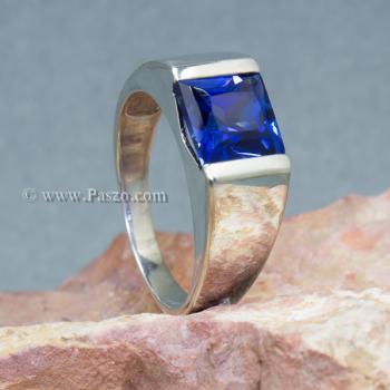 แหวนผู้ชายพลอยสีน้ำเงิน แหวนผู้ชายพลอยสี่เหลี่ยม แหวนผู้ชายเงินแท้ #6