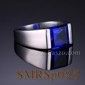 แหวนผู้ชายพลอยสีน้ำเงิน แหวนผู้ชายพลอยสี่เหลี่ยม แหวนผู้ชายเงินแท้ #3