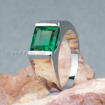 แหวนผู้ชายพลอยสีเขียว แหวนผู้ชายพลอยสี่เหลี่ยม แหวนผู้ชาย #6