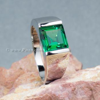 แหวนผู้ชายพลอยสีเขียว แหวนผู้ชายพลอยสี่เหลี่ยม แหวนผู้ชาย #7