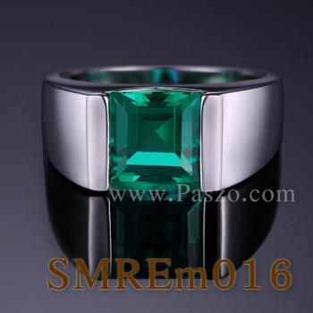 แหวนผู้ชายพลอยสีเขียว แหวนผู้ชายพลอยสี่เหลี่ยม แหวนผู้ชาย #3