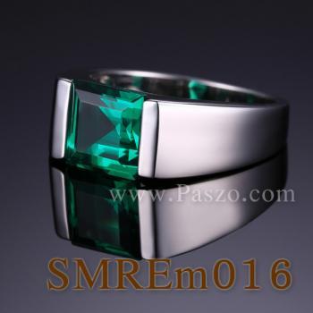แหวนผู้ชายพลอยสีเขียว แหวนผู้ชายพลอยสี่เหลี่ยม แหวนผู้ชาย #2