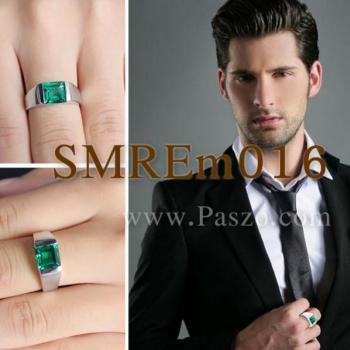 แหวนผู้ชายพลอยสีเขียว แหวนผู้ชายพลอยสี่เหลี่ยม แหวนผู้ชาย #5