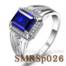 แหวนผู้ชายพลอยไพลิน พลอยสี่เหลี่ยม แหวนผู้ชาย แหวนล้อมเพชร พลอยสีน้ำเงิน แหวนเงิน
