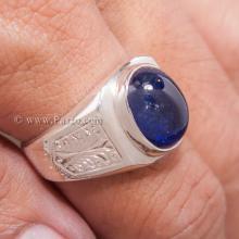 แหวนผู้ชายไพลิน แหวนสลักลายไทย แหวนผู้ชายนิหร่า บ่าแกะสลักลายไทย แหวนเงินผู้ชาย แหวนผู้ชาย
