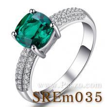 แหวนพลอยมรกต ชุดสะพานดาว แหวนเงินแท้ พลอยสีเขียว เม็ดสี่เหลี่ยม บ่าฝังเพชร